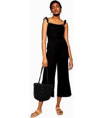 black ruffle strap jumpsuit - black