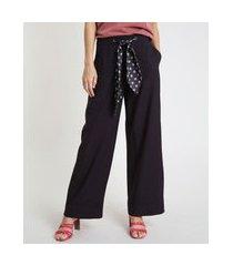 calça feminina pantalona com cinto estampado preta