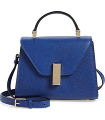 valextra micro iside leather top handle crossbody bag - blue
