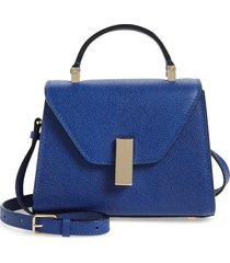 valextra micro iside leather top handle/crossbody bag - blue