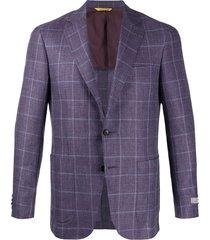 canali woven check blazer - purple