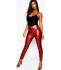 high waist leather look zip side trouser, berry