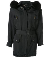 chanel pre-owned short belted parka - black