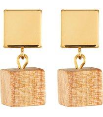 'the pixie' pine wood earrings
