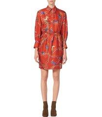sandro women's bootsy print silk shirtdress - red - size 40 (l)