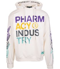 pharmacy industry man white hoodie with multicolored xanny logo prints