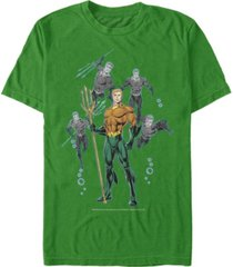 fifth sun dc men's aquaman multi action portraits short sleeve t-shirt