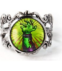 walking dead zombie hand living dead antique silver horror filigree glass ring
