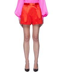 'caden' front pleat satin shorts