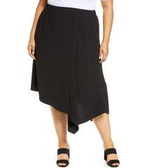 plus size women's ming wang handkerchief skirt, size 3x - black