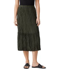 eileen fisher crushed silk habutai tiered skirt, size small in seawd at nordstrom