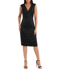 women's maggy london stripe sleeveless satin dress, size 0 - black