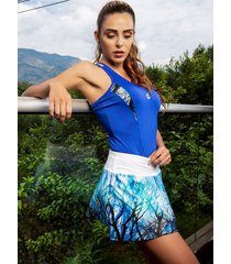 falda deportiva con fit interno marca mia  r-7802 azul rey  / blanco