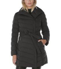tahari asymmetrical puffer coat