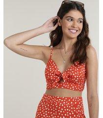 top cropped feminino estampado de poá com nó decote v vermelho
