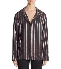 crystal-trim striped pajama top