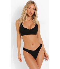 gekreukelde bikini top met halsinkeping en vollere cups, black