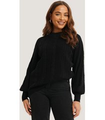 na-kd balloon sleeve cable knitted sweater - black