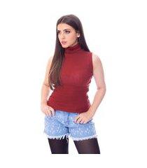 blusa cacharrel moda vício regata gola alta tricô cobre