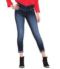 jeans wados pitillo pretina ancha azul - calce ajustado