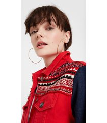 multicolour jean jacket and friezes - red - 34