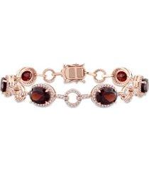 garnet (14 3/4 ct. t.w.) and diamond (1 1/2 ct. t.w.) link bracelet in 14k rose gold