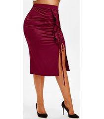 plus size ruffle cinched slit midi skirt