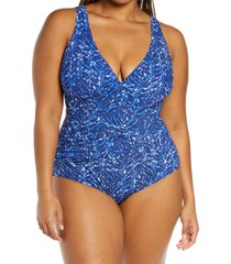 l.l.bean slimming swimwear one-piece swimsuit, size 14 in cobalt vines at nordstrom
