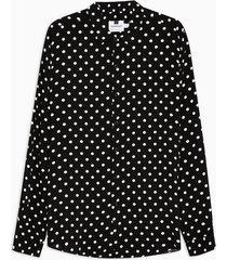 mens black and white polka dot slim shirt