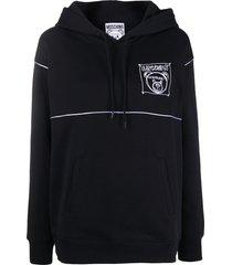 moschino teddy bear logo-patch hoodie - black