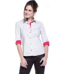 camisa intens manga 3/4 algodão liso branco
