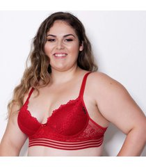suti㣠le amour de renda com bojo rubi gabriella plus size - vermelho - feminino - dafiti
