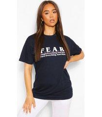 f.e.a.r t-shirt met afbeelding, marineblauw