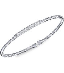 14k white gold & diamond station twisted bangle bracelet