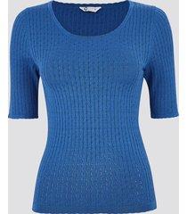 t-shirt med pointellemönster - blå
