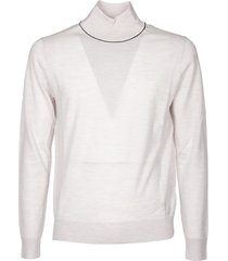 high collar pullover in ivory color whit logo