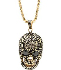 18k goldplated stainless steel & black simulated diamond skull pendant necklace