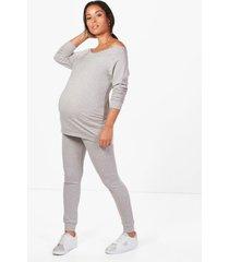 maternity bardot top & lounge set, grey