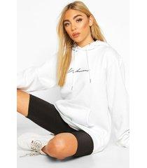 woman signature oversized hoodie, white