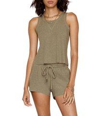 women's heartloom celina waffle knit drawstring shorts, size x-small - green