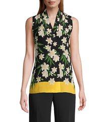 kobi halperin women's deena floral silk top - black multicolor - size xl