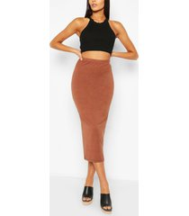 basic midaxi rok met hoge taille, cacao