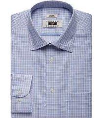 joseph abboud navy & brown check classic fit dress shirt