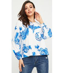 yoins botón azul diseño tropical redondo cuello blusa de manga larga