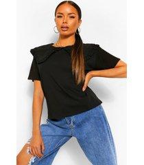 petite t-shirt met peter pan kraag, black