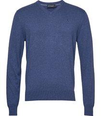cotton silk v stickad tröja v-krage blå hackett