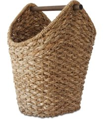 braided oval tissue basket with wood handle