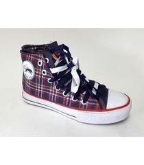 zapatilla azul tamara shoes lona cuadrillé