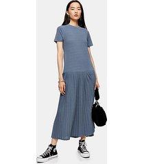 pleat pleated mesh midi dress - blue