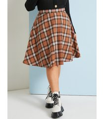 falda a cuadros naranja talla grande yoins